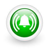 будильник зеленый круг глянцевый web значок на белом фоне — Стоковое фото
