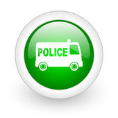 Police green circle glossy web icon on white background — Stock Photo
