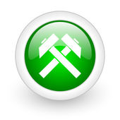 Mining green circle glossy web icon on white background — Stok fotoğraf