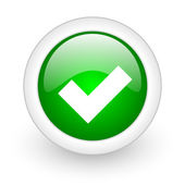 Accept green circle glossy web icon on white background — Stock Photo