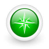 Compass green circle glossy web icon on white background — Stock Photo
