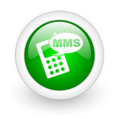Mms green circle glossy web icon on white background — 图库照片