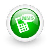 Mms verde sull'icona web lucido di cerchio su sfondo bianco — Foto Stock