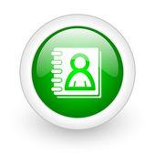 Address book green circle glossy web icon on white background — Stock Photo