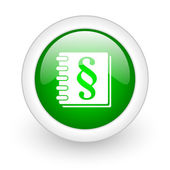 Law green circle glossy web icon on white background — Stock Photo