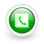 Phonebook green circle glossy web icon on white background — Stockfoto