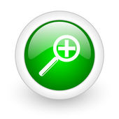 Magnification green circle glossy web icon on white background — Stock Photo