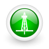 Drilling green circle glossy web icon on white background — Stock Photo