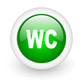 Wc green circle glossy web icon on white background — Stock Photo