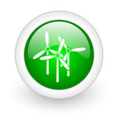Windmill green circle glossy web icon on white background — Stock Photo