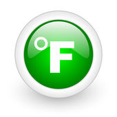 Fahrenheit green circle glossy web icon on white background — Stock Photo