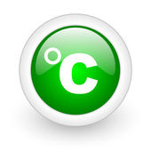 Celsius green circle glossy web icon on white background — Stock Photo