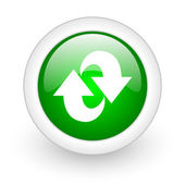 Rotate green circle glossy web icon on white background — Stock Photo