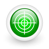 Target green circle glossy web icon on white background — Stock Photo