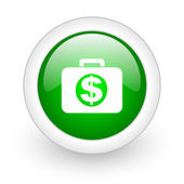 Financial green circle glossy web icon on white background — Stock Photo