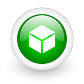 Box green circle glossy web icon on white background — Stok fotoğraf