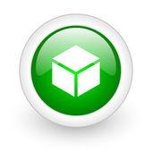 Box green circle glossy web icon on white background — Stock Photo