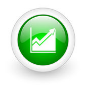 Histogram green circle glossy web icon on white background — Stock Photo