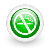 No smoking green circle glossy web icon on white background — Stock Photo