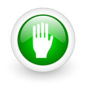 Stop green circle glossy web icon on white background — Stock Photo