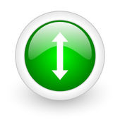 Arrows green circle glossy web icon on white background — Stock Photo