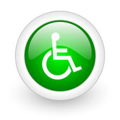 Accessibility green circle glossy web icon on white background — Stock Photo