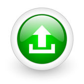 Upload green circle glossy web icon on white background — Stok fotoğraf