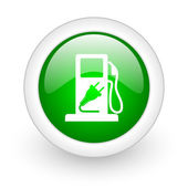 Fuel green circle glossy web icon on white background — Stock Photo