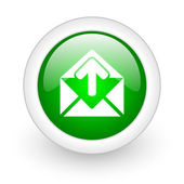 Mail green circle glossy web icon on white background — ストック写真