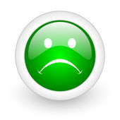 Cry green circle glossy web icon on white background — Stock Photo