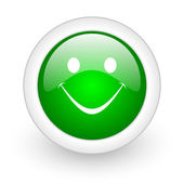 Smile green circle glossy web icon on white background — Stock Photo