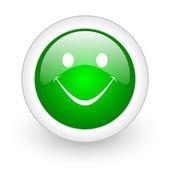 Smile green circle glossy web icon on white background — Stock Photo