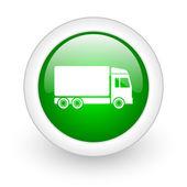 Icono de brillante web envío círculo verde sobre fondo blanco — Foto de Stock