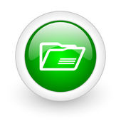 Folder green circle glossy web icon on white background — Stok fotoğraf