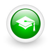 Graduation green circle glossy web icon on white background — Stock Photo