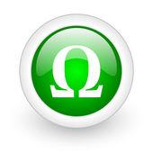 Omega zelený kruh lesklý web ikony na bílém pozadí — Stock fotografie