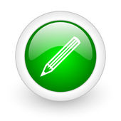 Pencil green circle glossy web icon on white background — Stock Photo