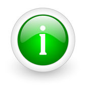 Information green circle glossy web icon on white background — Stock Photo