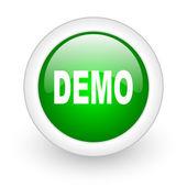 Demo green circle glossy web icon on white background — Stock Photo