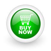 Comprar icono web brillante círculo ahora verde sobre fondo blanco — Foto de Stock