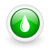 Water drop green circle glossy web icon on white background — Stock Photo