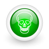 Skull green circle glossy web icon on white background — Foto de Stock