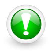 Exclamation sign green circle glossy web icon on white background — Stock Photo