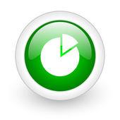 Chart green circle glossy web icon on white background — Stock Photo