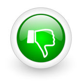 Thumb down green circle glossy web icon on white background — Stock Photo