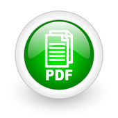 白い背景の上の pdf 緑色の丸い光沢があるウェブ アイコン — ストック写真