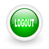 Logout green circle glossy web icon on white background — Stock Photo