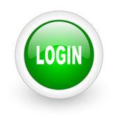Login green circle glossy web icon on white background — Stock Photo