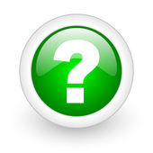 在白色背景上的问号绿色圆圈光泽 web 图标 — 图库照片