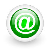 At green circle glossy web icon on white background — Stock Photo